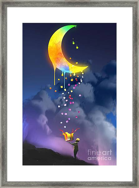 The Kid Opening A Fantasy Box And Framed Print by Tithi Luadthong