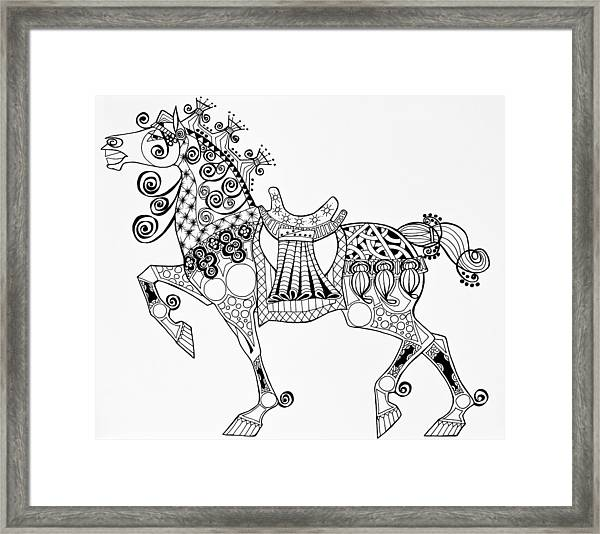 The King's Horse - Zentangle Framed Print