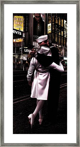 The Kiss In Times Square Framed Print