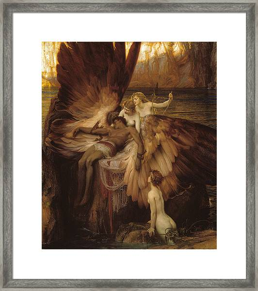 Framed Print featuring the painting The Lament For Icarus by Herbert James Draper