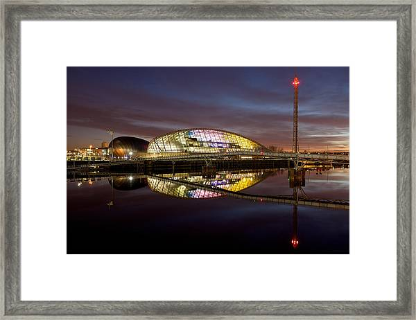 The Last Of The Light At The Glasgow Science Centre Framed Print