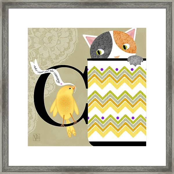 The Letter C For Cat And Canary Framed Print