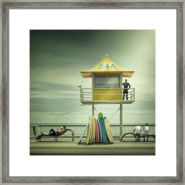 The Life Guard Framed Print by Adrian Donoghue
