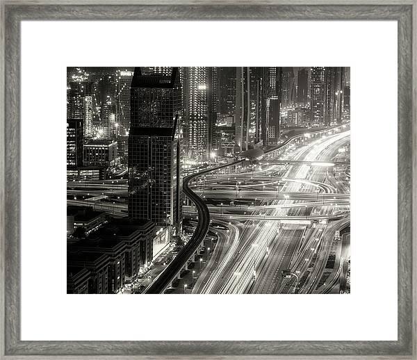 The Light River Of Dubai Framed Print by Ahmed Thabet