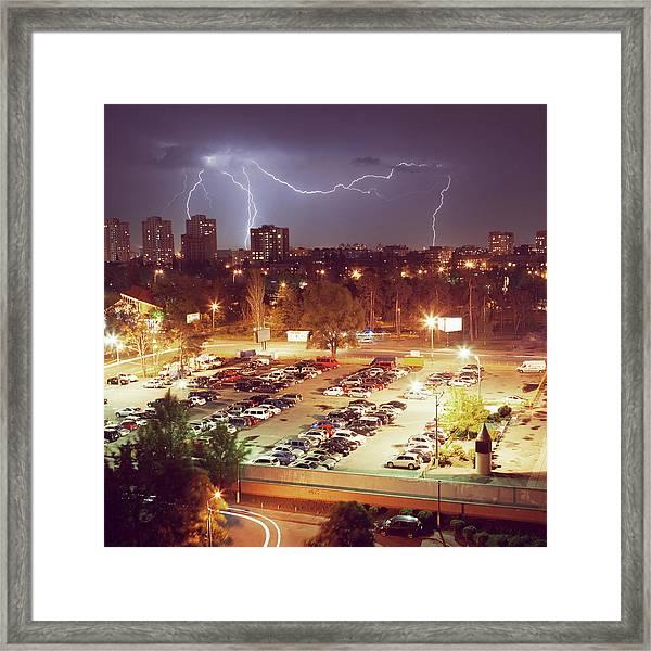 The Lightning In A Night City Framed Print