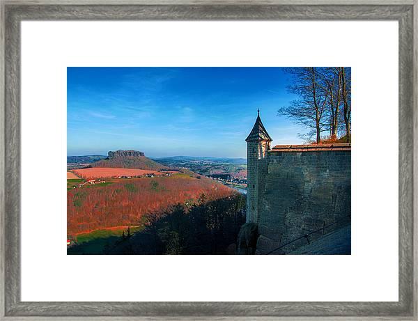 The Lilienstein Behind The Fortress Koenigstein Framed Print
