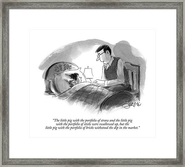 The Little Pig With The Portfolio Of Straw Framed Print
