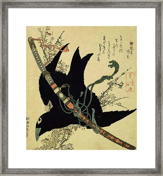 The Little Raven With The Minamoto Clan Sword Framed Print