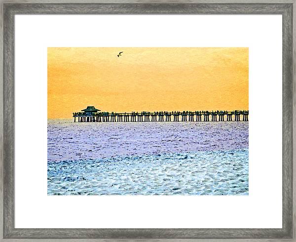 The Long Pier - Art By Sharon Cummings Framed Print
