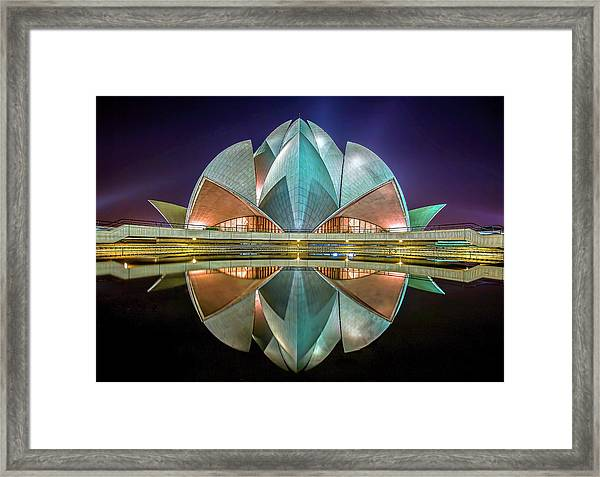 The Lotus Temple Framed Print by Jiti Chadha