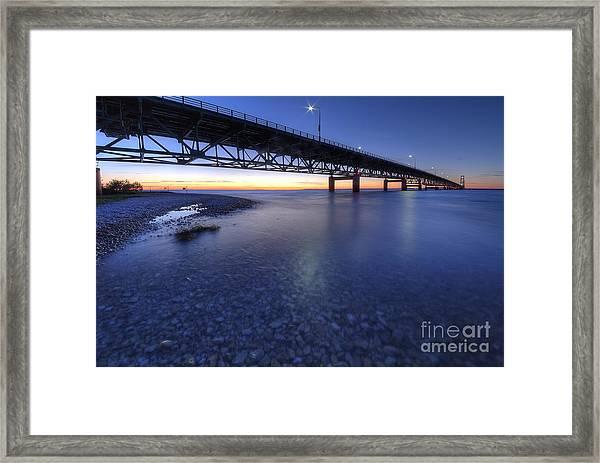 The Mackinac Bridge At Dusk Framed Print by Twenty Two North Photography