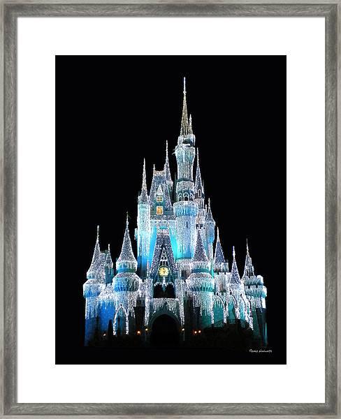 The Magic Kingdom Castle In Frosty Light Blue Walt Disney World Framed Print