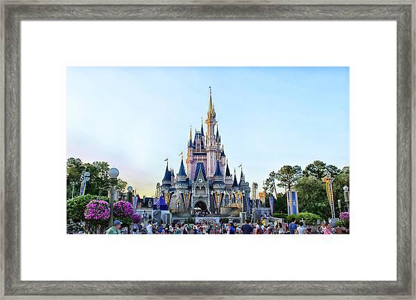 The Magic Kingdom Castle On A Beautiful Summer Day Horizontal Framed Print