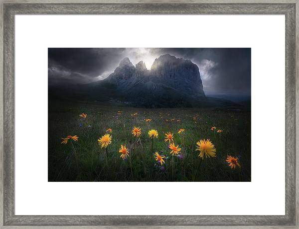 The Majesty Of Sassolungo Framed Print by Luca Rebustini