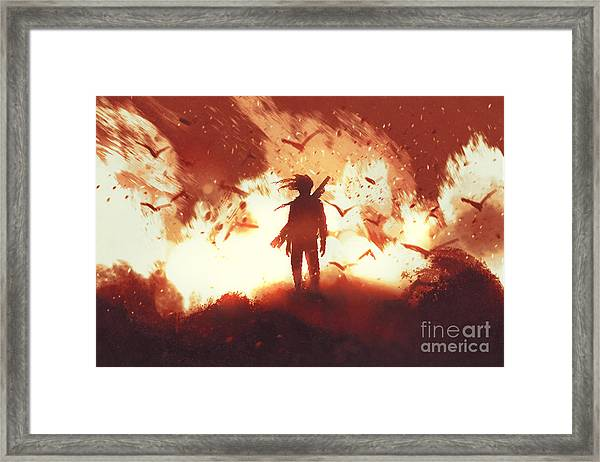 The Man With A Gun Standing Against Framed Print