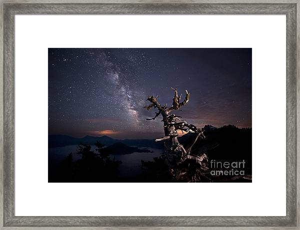The Mind Belonged To Heaven The Body's Shadow Lies There Framed Print