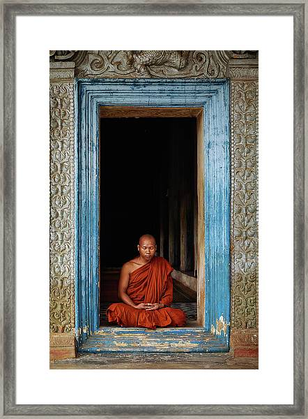 The Monks Of Wat Bo Framed Print