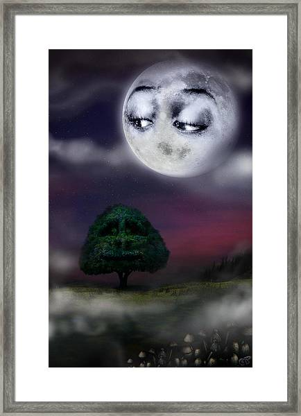 The Moon And The Tree Framed Print
