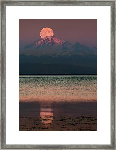 The Moon Over Mount Baker Framed Print