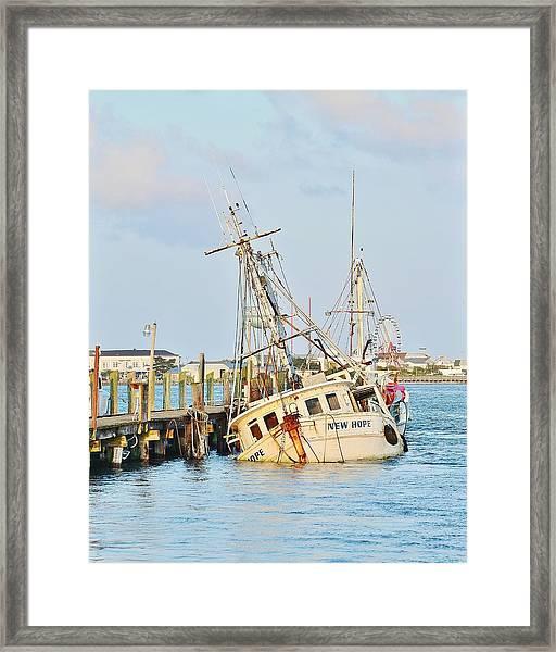 The New Hope Sunken Ship - Ocean City Maryland Framed Print