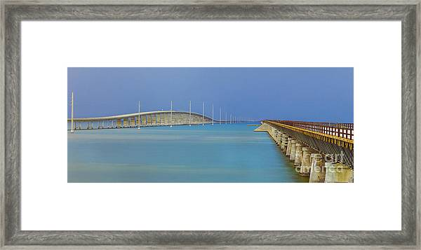 The Old- And New 7 Mile Bridge Framed Print