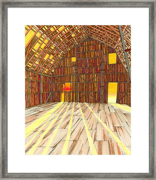 Framed Print featuring the drawing The Old Barn by Scott Kirby