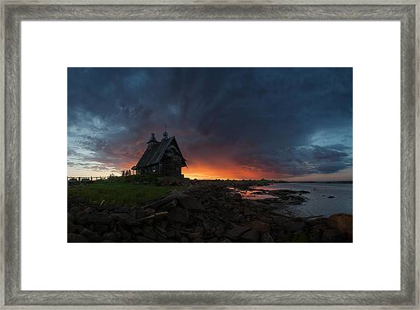 The Old Church On The Coast Of White Sea Framed Print