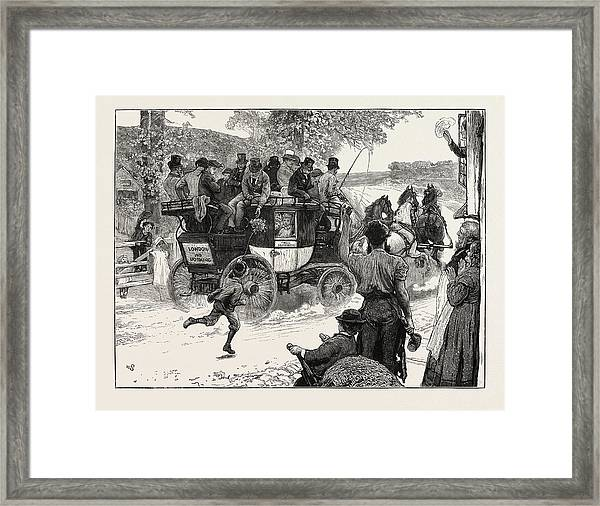 The Old Coaching Days Revived The London And Dorking Coach Framed Print