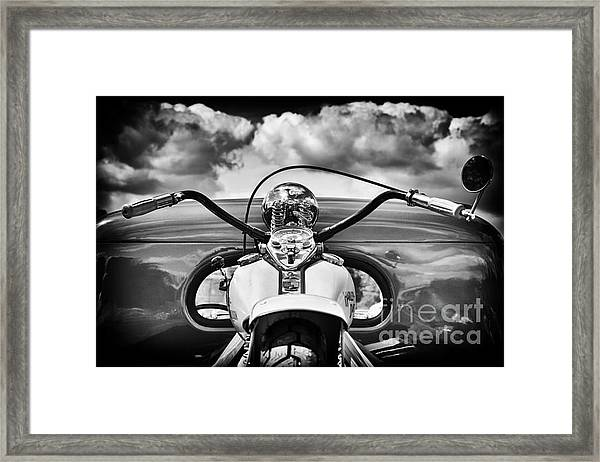 The Old Harley Monochrome Framed Print