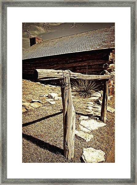 The Old Hitching Post Framed Print