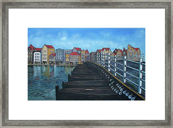 The Old Queen Emma Bridge In Curacao Framed Print