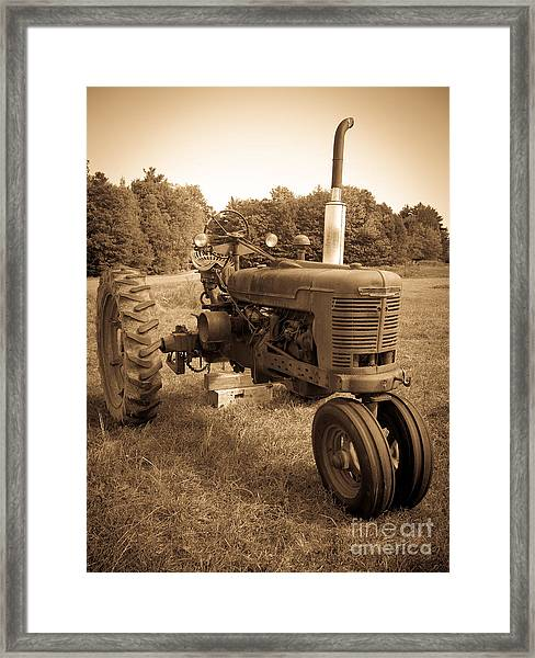 The Old Tractor Sepia Framed Print