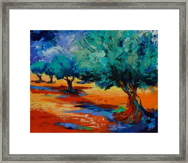 Framed Print featuring the painting The Olive Trees Dance by Elise Palmigiani