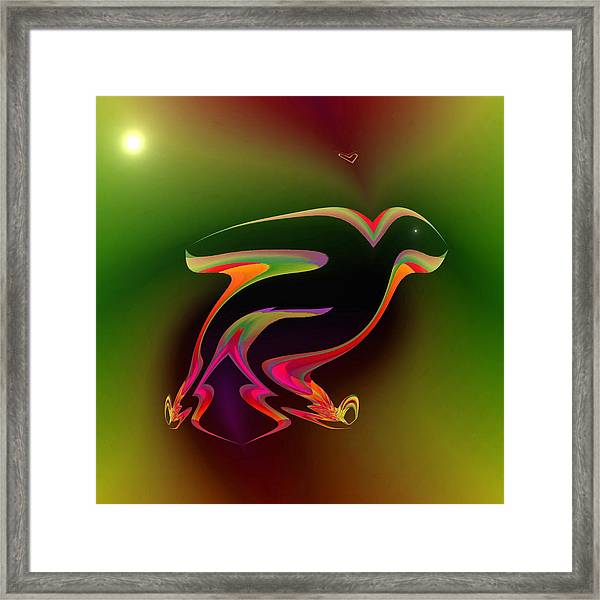 Framed Print featuring the digital art The Parrot And The Butterfly by Visual Artist Frank Bonilla