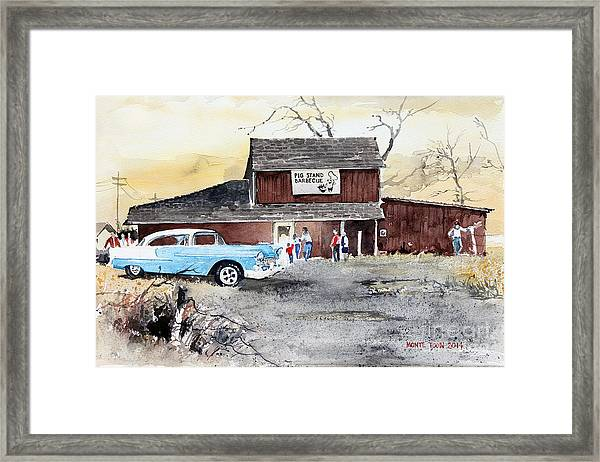 The Pig Stand Framed Print