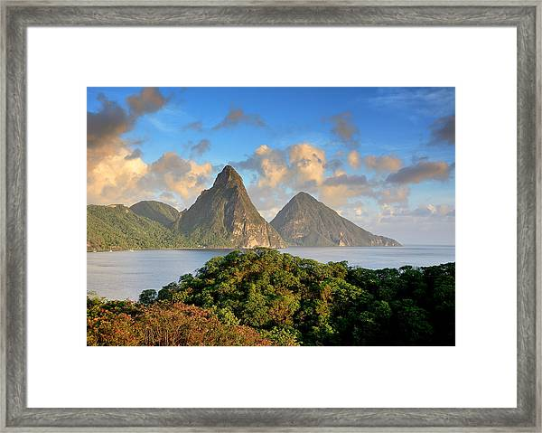 The Pitons - Saint Lucia Framed Print by Brendan Reals
