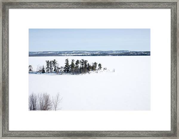 The Point In Winter Pinheys Point Ontario Framed Print