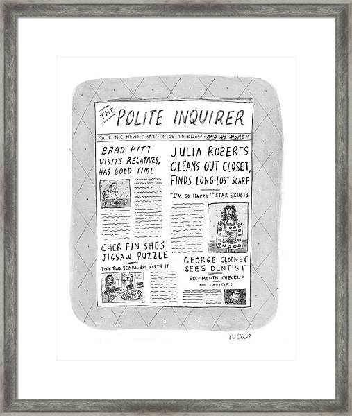 The Polite Inquirer Framed Print