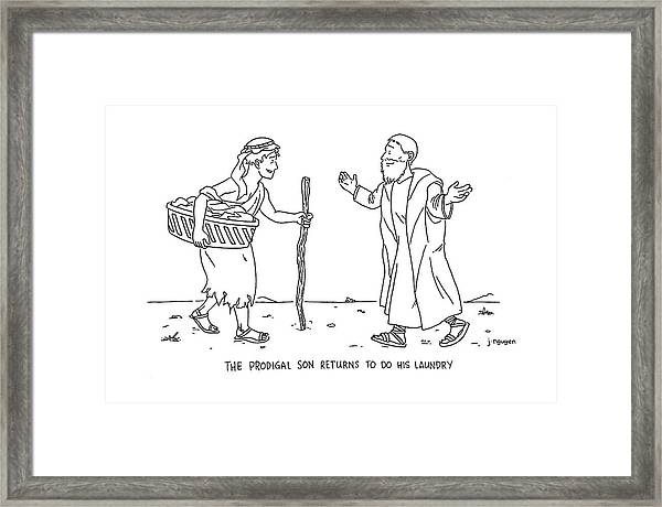 The Prodigal Son Returns To Do His Laundry Framed Print
