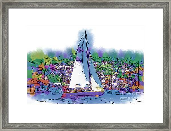 The Purple Sailboat Framed Print
