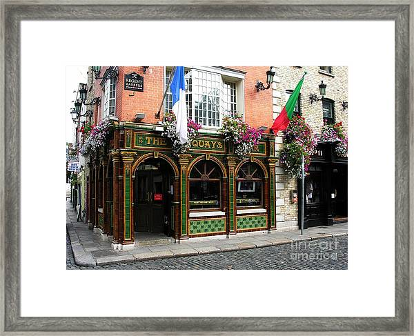 Framed Print featuring the photograph The Quays In Dublin by Mel Steinhauer