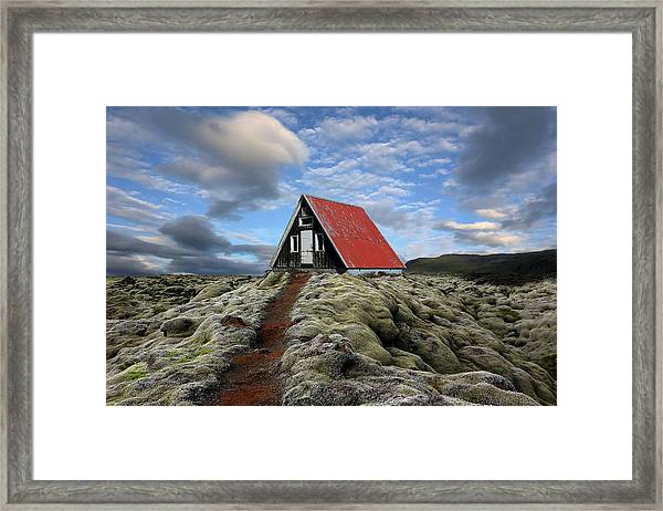 The Red Path To The Red Roof Framed Print by Michel Romaggi
