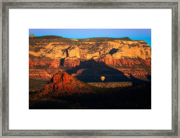The Red Rocks Of Sedona With Balloons Framed Print
