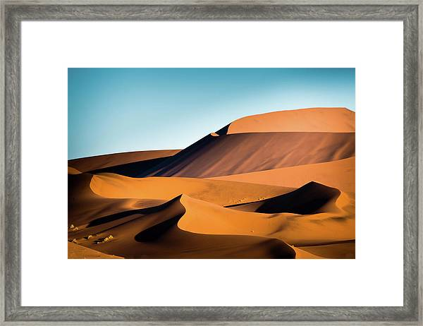 The Red Sand Dunes In Namibia Framed Print