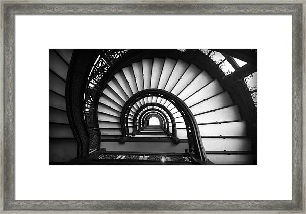 The Rookery Staircase In Black And White Framed Print