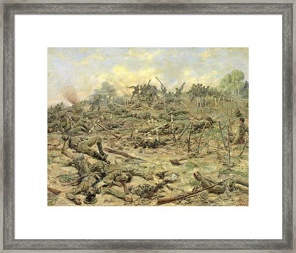 The Russian Infantry Attacking The German Entrenchments Framed Print