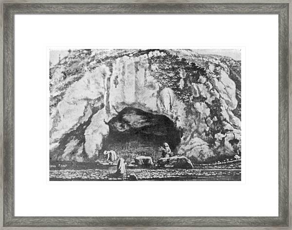 The Scene At The Grotte De Framed Print