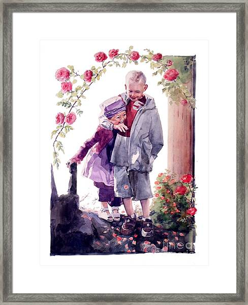 Watercolor Of A Boy And Girl In Their Secret Garden Framed Print