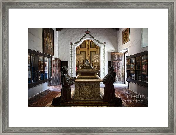 The Serra Cenotaph In Carmel Mission Framed Print