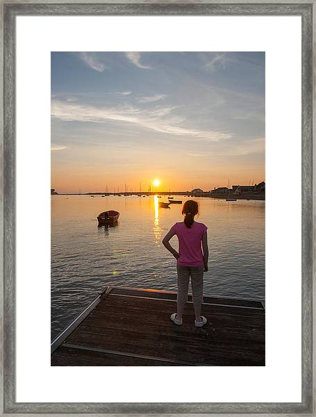 The Setting Sun With Child Framed Print